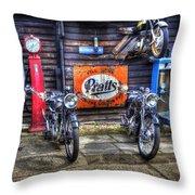 Classic British Bikes Throw Pillow