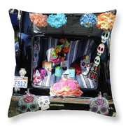 Classic Car Day Of Dead Decor Trunk Throw Pillow