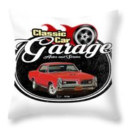 Classic Car Garage With Gto Throw Pillow