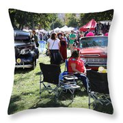 Classic Cars Day Of The Dead II Throw Pillow