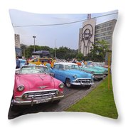 Classic Cars In Revolutionary Square Cuba Throw Pillow