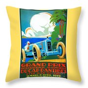 Classic Cars Motor Racing Grand Prix French Riviera 1929  Throw Pillow