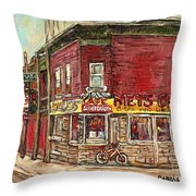 Classic Chinese Restaurant Montreal Memories Silver Dragon Canadian Paintings Carole Spandau         Throw Pillow