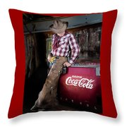 Classic Coca-cola Cowboy Throw Pillow by James Sage