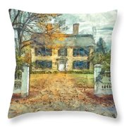 Classic Colonial Home In Autumn Pencil Throw Pillow