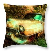 Classic Country Cadillac Painting  Throw Pillow