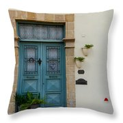 Classic House Entrance In Old Nicosia Throw Pillow