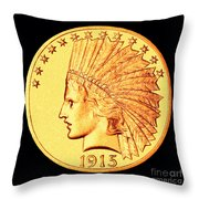 Classic Indian Head Gold Throw Pillow