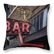 Classic Neon Sign For A Bar Livingston Montana Throw Pillow