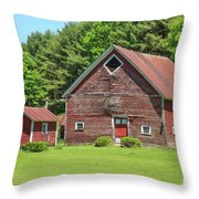 Classic Old Red Barn In Vermont Throw Pillow