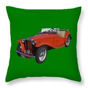 Classic Red Mg Tc Convertible British Sports Car Throw Pillow