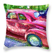 Classic Red Vintage Car Throw Pillow