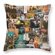 Classic Rock Lp Collage 1 Throw Pillow