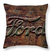 Classic Rusty Ford Pickup Truck Logo Detail Throw Pillow