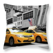 Classic Street View Of Yellow Cabs In New York City Throw Pillow