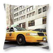 Classic Street View With Yellow Cabs In New York City Throw Pillow