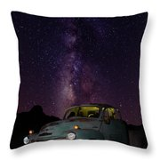 Classic Truck Under The Milky Way Throw Pillow