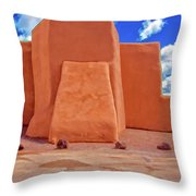 Classic View Of Ranchos Church As Oil Throw Pillow