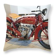 Classic Vintage Indian Motorcycle Red   # Throw Pillow