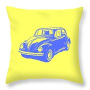 Classic Vw Beetle Tee Blue Ink Throw Pillow
