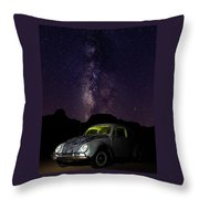 Classic Vw Bug Under The Milky Way Throw Pillow