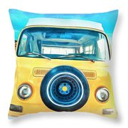 Classic Vw Camper On The Beach Throw Pillow