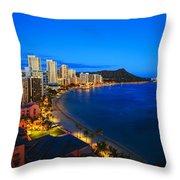 Classic Waikiki Nightime Throw Pillow