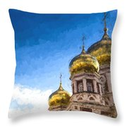 Intercession Cathedral In Saratov Russia Throw Pillow