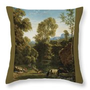 Classical Landscape With Figures By A Lake Throw Pillow