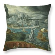 Classical Landscape With Ships Running Before A Storm Towards A Classical Harbour Probably Corinth Throw Pillow