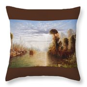 Classical River Landscape With Figures On The Steps Below A Temple Embarking Boats Throw Pillow