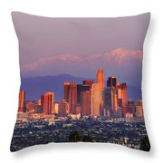 Classical View Of Los Angeles Downtown Throw Pillow