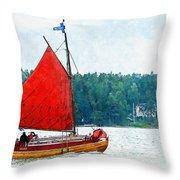 Classical Wooden Boat Tacksamheten Throw Pillow