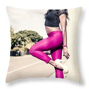 Classy Model In Elegant Fashion Outfit By Road Throw Pillow