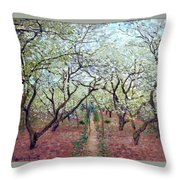 Claude Monet Orchard In Bloom Throw Pillow