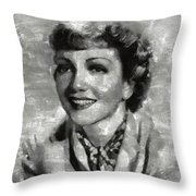 Claudette Colbert Vintage Hollywood Actress Throw Pillow