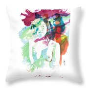 Claudia Nude Fine Art Painting Print In Sensual Sexy Color 4887. Throw Pillow