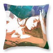 Claudia Nude Fine Art Painting Print In Sensual Sexy Color 4893. Throw Pillow