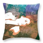 Claudia Nude Fine Art Painting Print In Sensual Sexy Color 4895. Throw Pillow