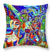 City At Night Music And Wine Abstract Throw Pillow