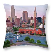 Cle Sunset View From The Shoreway Throw Pillow
