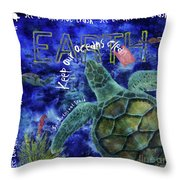 Clean Oceans Sea Turtle Art Throw Pillow