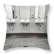 Clean Simple Public Washroom Sinks Mirrors Throw Pillow