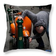 Clean Vespa Throw Pillow by Lee Stickels