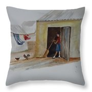 Cleaning Day In Agladones Throw Pillow
