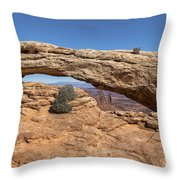 Clear Day At Mesa Arch - Canyonlands National Park Throw Pillow