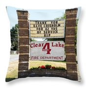 Clear Lake Fire Department Throw Pillow