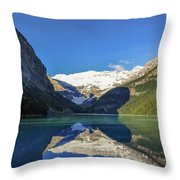 Clear Reflections In The Water At Lake Louise, Canada. Throw Pillow