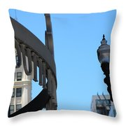Clear Street Lamp Downtown Chicago Throw Pillow