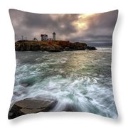 Clearing Storm At Cape Neddick Throw Pillow